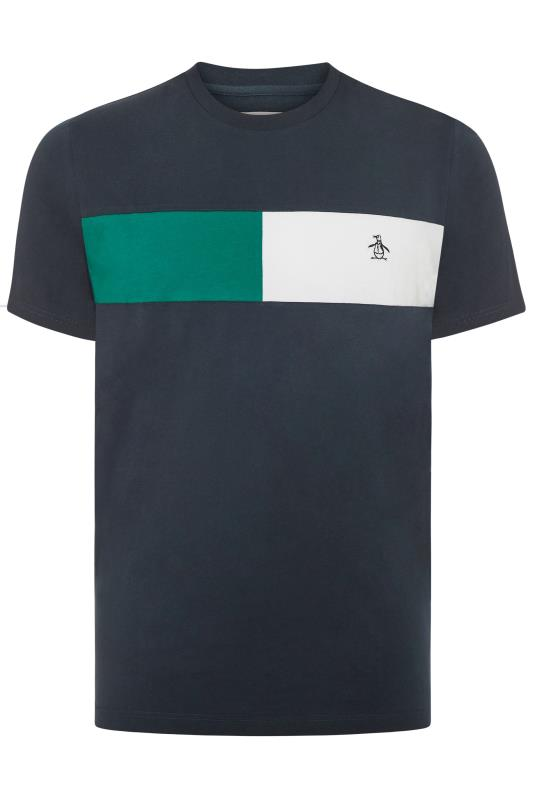 Plus Size T-Shirts PENGUIN MUNSINGWEAR Navy Colour Block T-Shirt