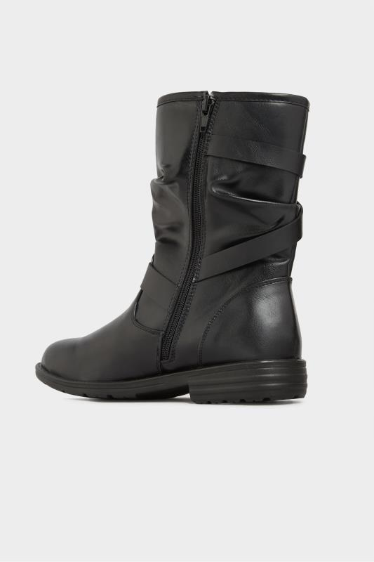 Black Vegan Faux Leather Buckle Detail Boots In Wide Fit_C.jpg