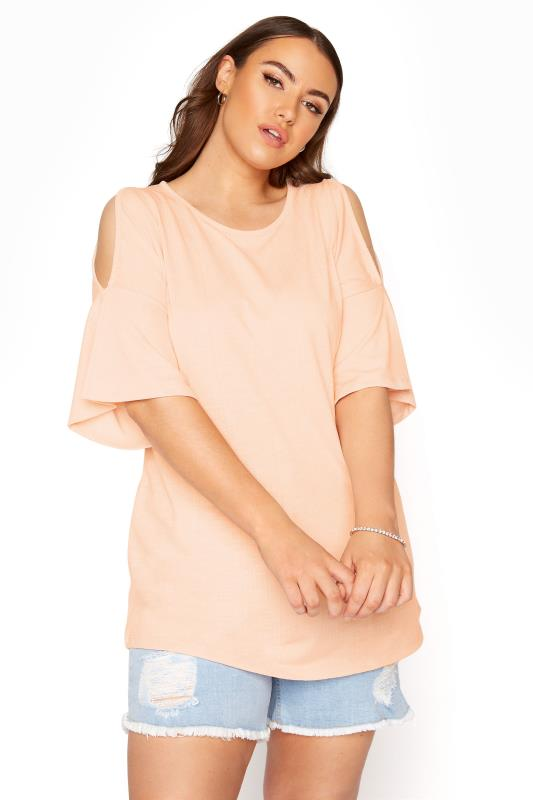 Dusky Pink Cold Shoulder T-Shirt