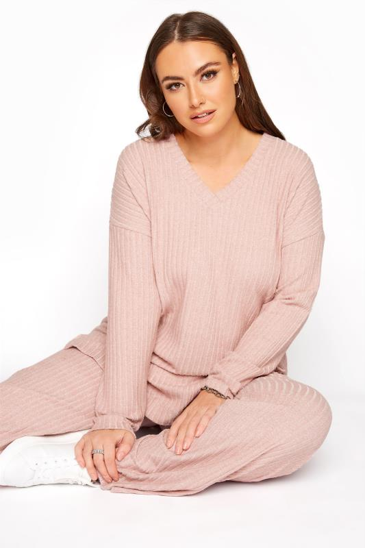Plus Size  Pink Soft Touch V-Neck Ribbed Top
