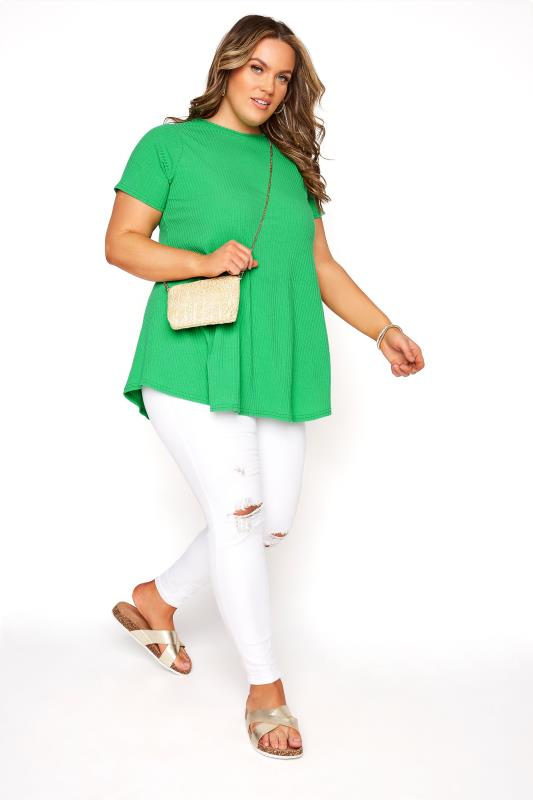 LIMITED COLLECTION Emerald Green Ribbed Short Sleeve T-Shirt_B.jpg