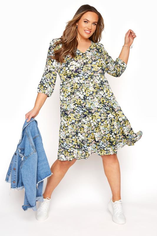 YOURS LONDON Multi Floral Print Tiered Dress_B.jpg