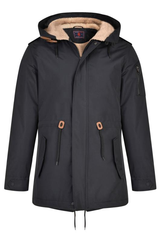Tallas Grandes KAM Black Teddy Lined Parka Coat