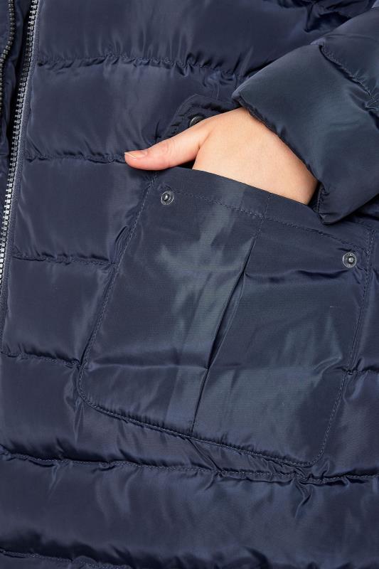 Navy Midi Padded Puffer Coat