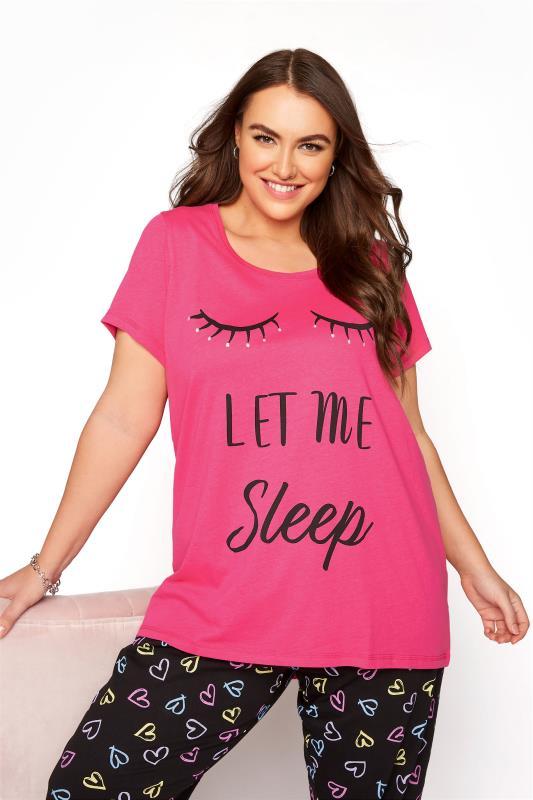 Pink 'Let Me Sleep' Dipped Back Pyjama Top_A.jpg