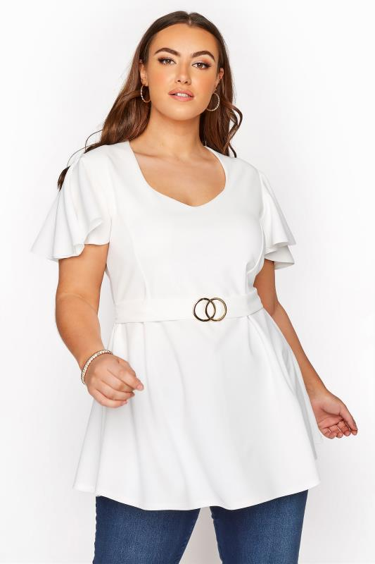Plus Size  YOURS LONDON White Belted Peplum Top