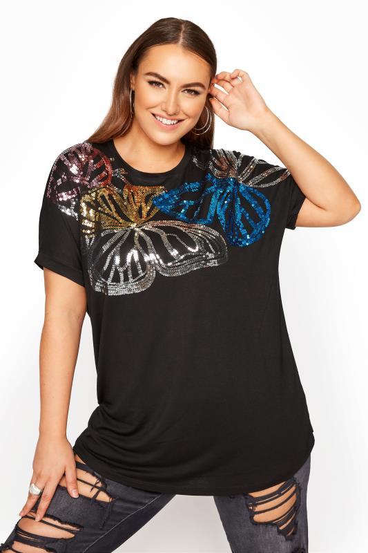 Großen Größen  Black Sequin Embellished T-Shirt