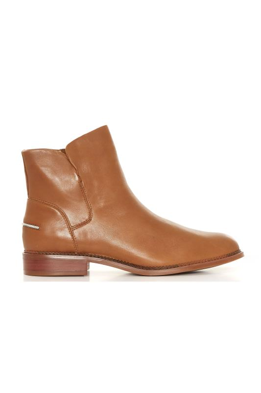 FRANCO SARTO Tan Brown Leather Ankle Boots