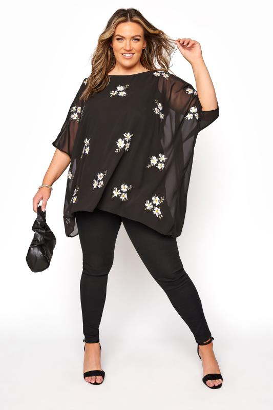 YOURS LONDON Black Daisy Embroidered Cape Top_B.jpg