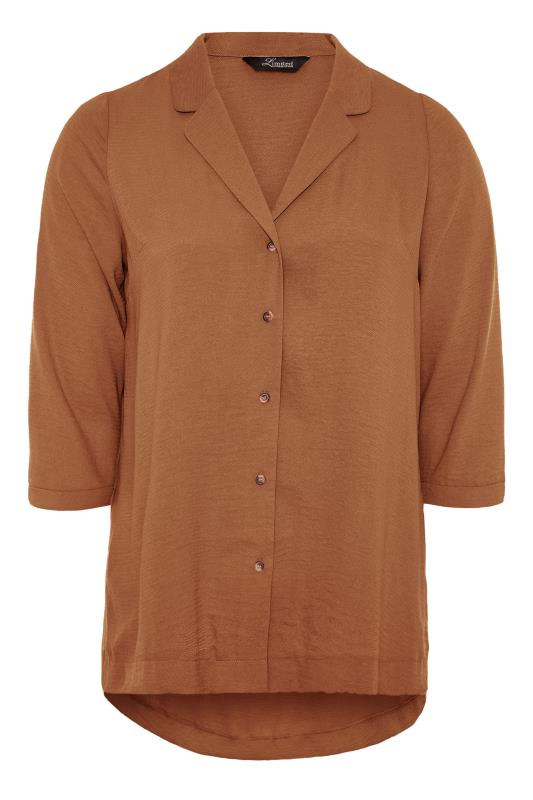 THE LIMITED EDIT Brown Open Collar Blouse_F.jpg