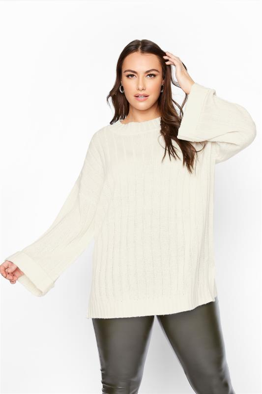 Plus Size  Cream Ribbed Wide Sleeve Knitted Jumper
