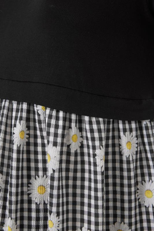 BUMP IT UP MATERNITY Black Gingham Floral Contrast Top_S.jpg