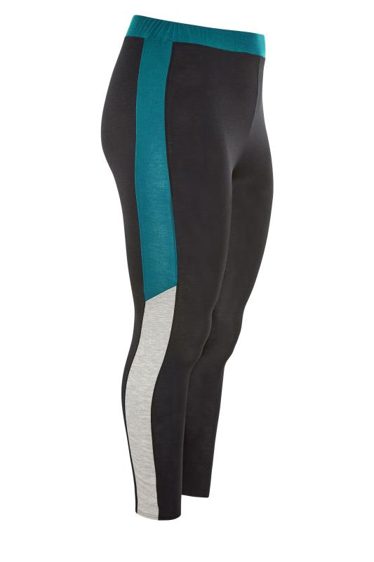LIMITED COLLECTION Black & Teal Colour Block Leggings_SS.jpg