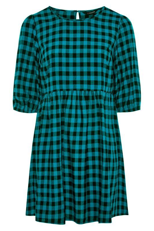 Teal Gingham Peplum Dress_F.jpg