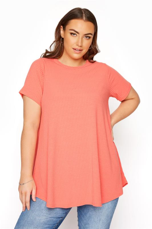 LIMITED COLLECTION Coral Ribbed Swing T-Shirt