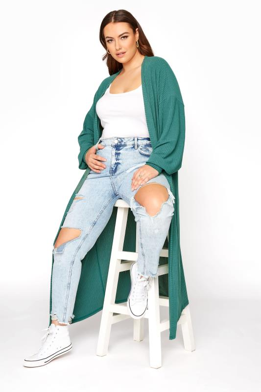 LIMITED COLLECTION Forest Green Ribbed Long Cardigan_B.jpg