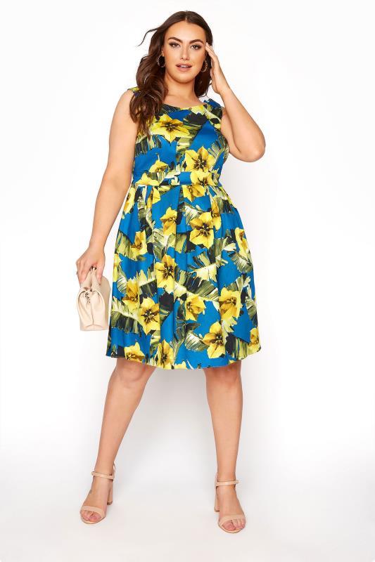 Royal Blue Floral Print Skater Dress_B.jpg