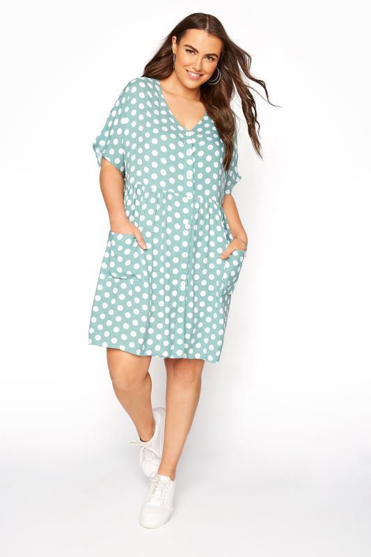Plus Size  Sage Polka Dot Drop Pocket Smock Dress