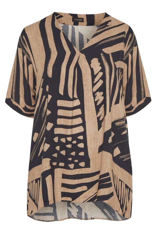 Mocha Brown Abstract V-Neck Pleated Front Shirt_F.jpg