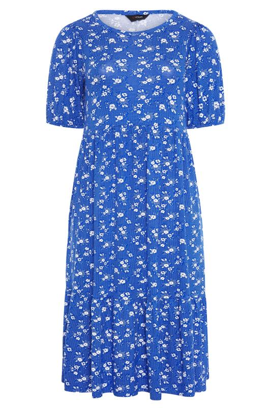 Blue Floral Puff Sleeve Midaxi Dress_F.jpg