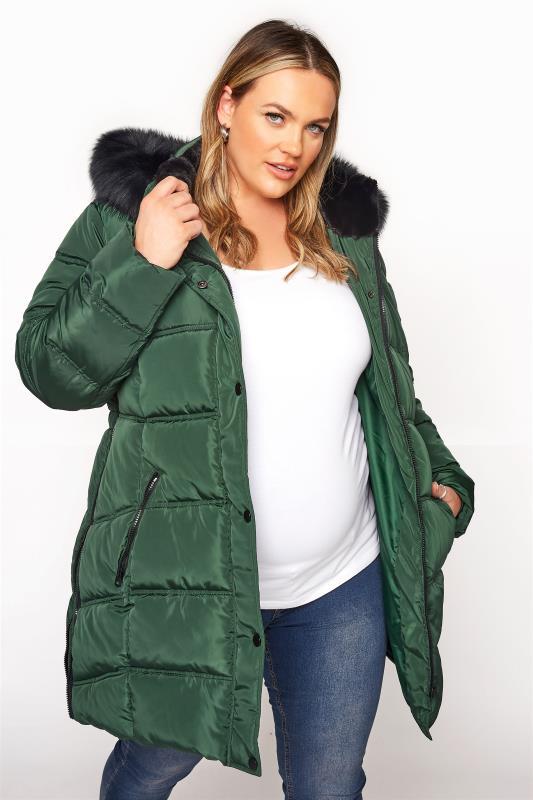 Plus Size  BUMP IT UP MATERNITY Green Side Zips Puffer Coat