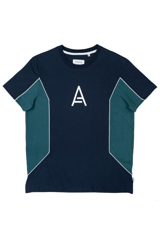 Plus Size  STUDIO A Navy & Blue Colour Block T-Shirt