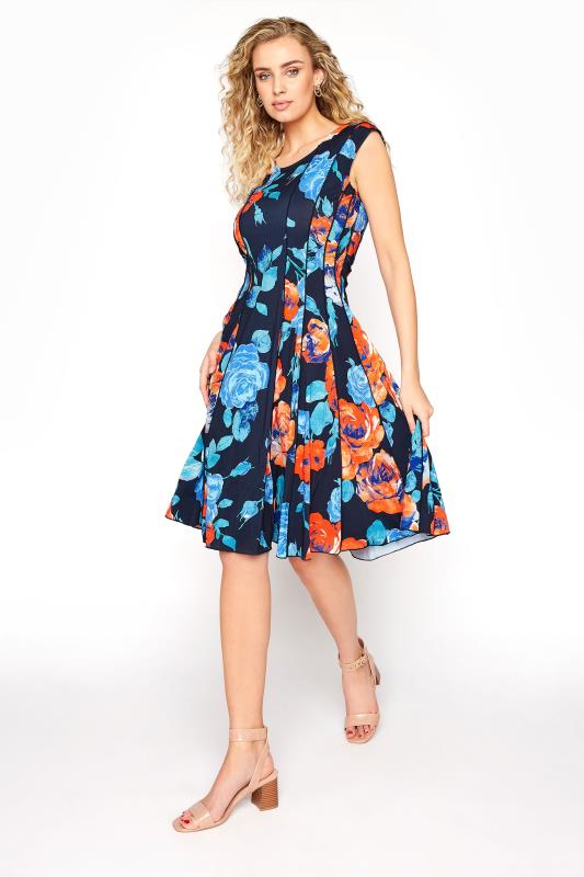 Tall  LTS Navy Floral Panelled Skater Dress