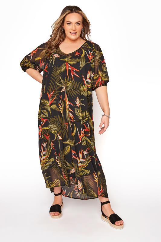 LIMITED COLLECTION Black Tropical Print Dress_B.jpg