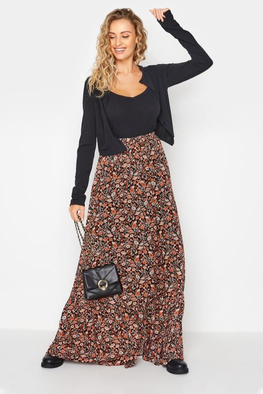 Tall  LTS Black Paisley Print Maxi Skirt