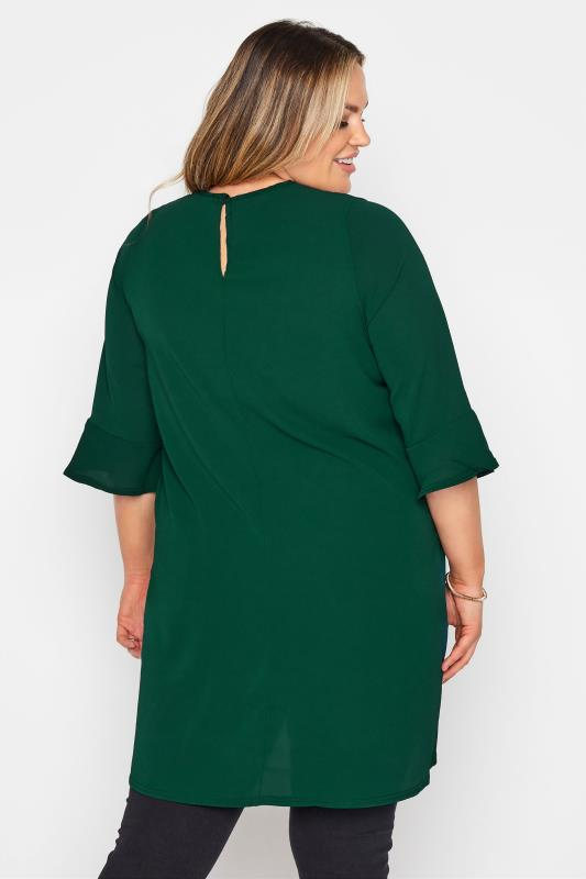 YOURS LONDON Forest Green Flute Sleeve Blouse_C.jpg