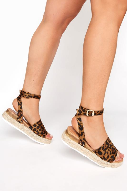 Tall  Yours Leopard Print Two Part Flatform Espadrilles In Regular Fit