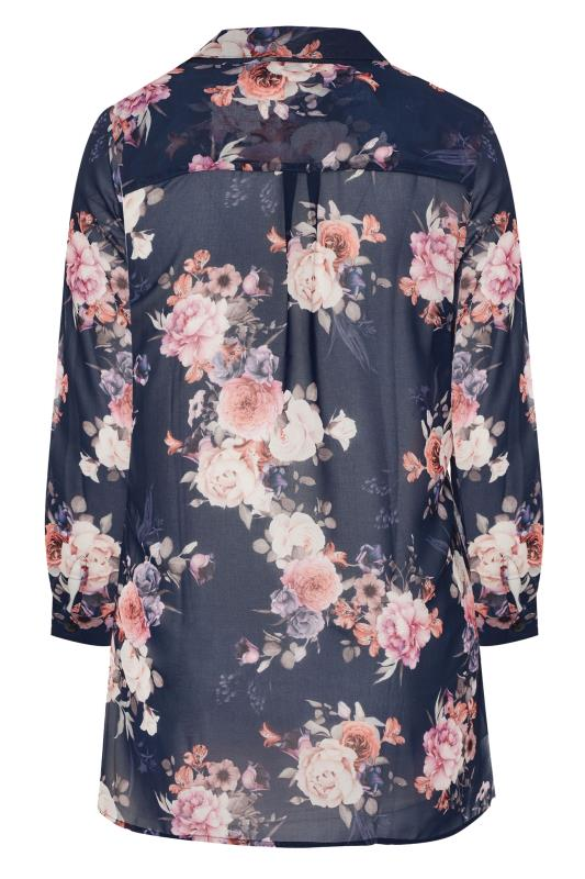 Navy Floral Longline Chiffon Shirt