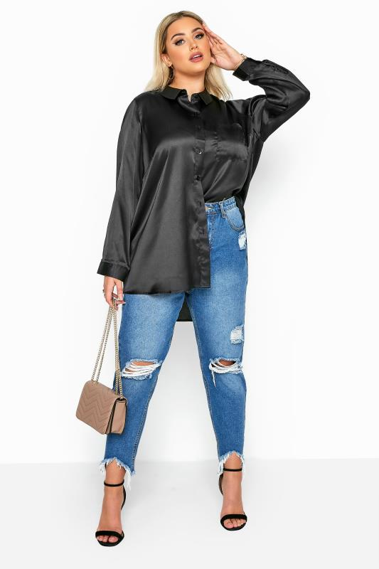 Black Satin Boyfriend Shirt