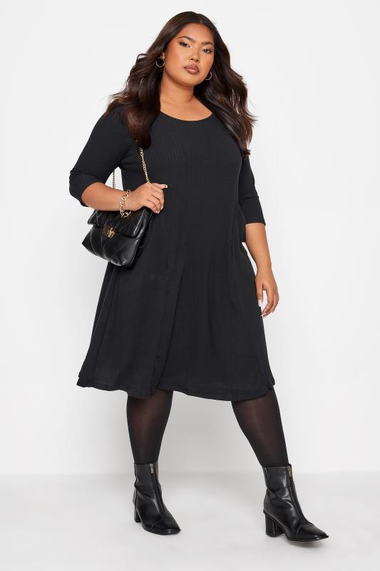Black Ribbed Drape Pocket Dress_B.jpg