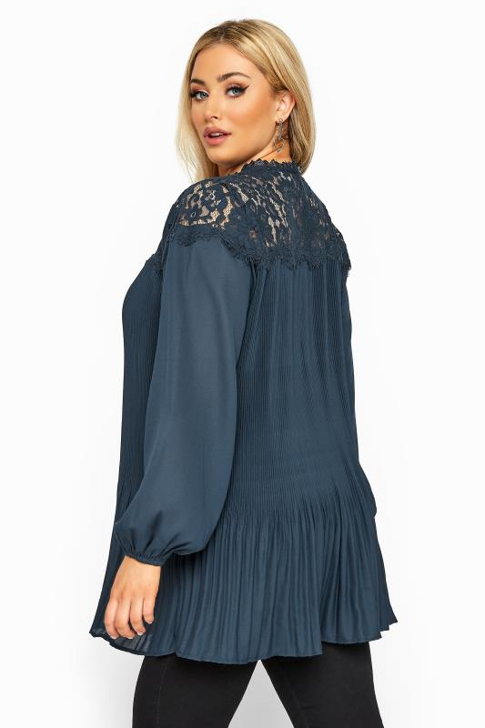 YOURS LONDON Navy Lace Pleated Blouse