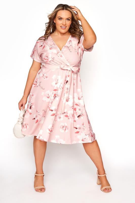 YOURS LONDON Blush Pink Floral Wrap Skater Dress