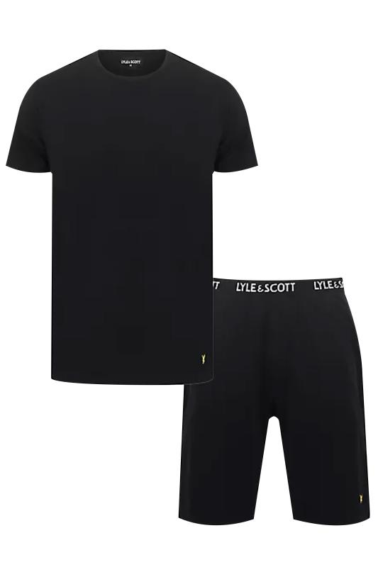dla puszystych LYLE & SCOTT Black Top & Shorts Lounge Set
