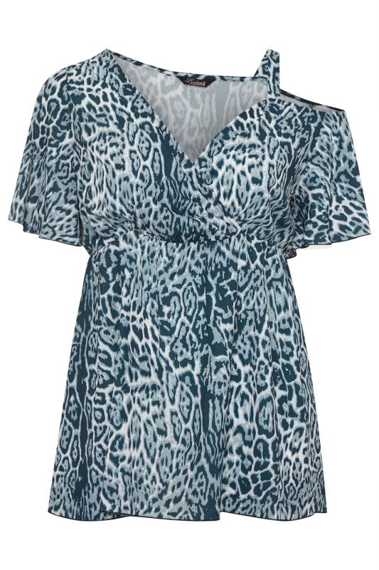 LIMITED COLLECTION Blue Animal Print Asymmetric Sleeve Wrap Top