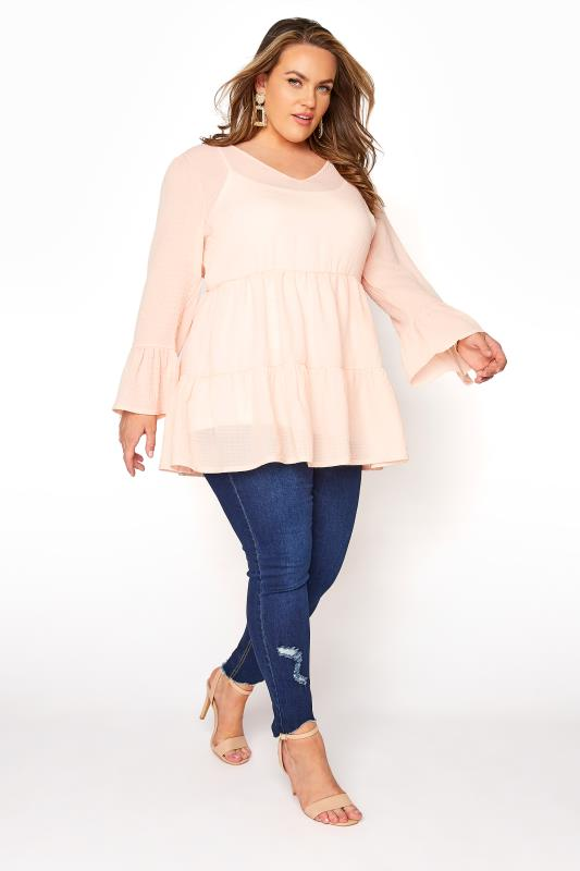 YOURS LONDON Natural Pink Ruffle Sleeve Tiered Smock Top_B.jpg