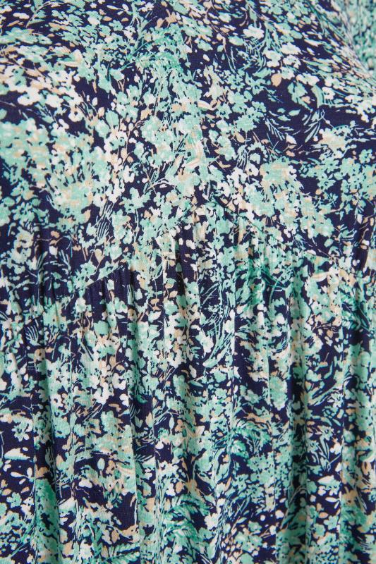 YOURS LONDON Green Floral V-Neck Frill Hem Dress_s.jpg