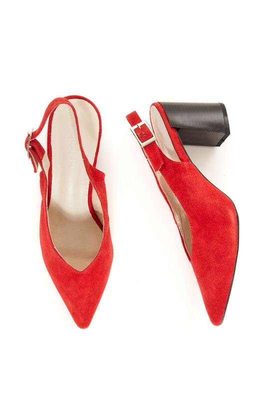 Red Miranda Leather Slingback Heels