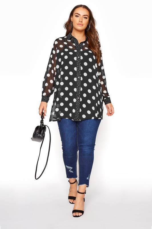 YOURS LONDON Black Polka Dot Boyfriend Shirt_B.jpg
