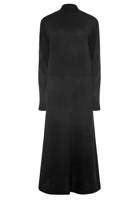 LTS Black Knitted Roll Neck A-Line Midi Dress_F.jpg