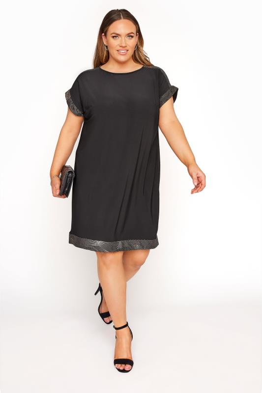 Plus Size  Black & Rose Gold Foil Trim Tunic