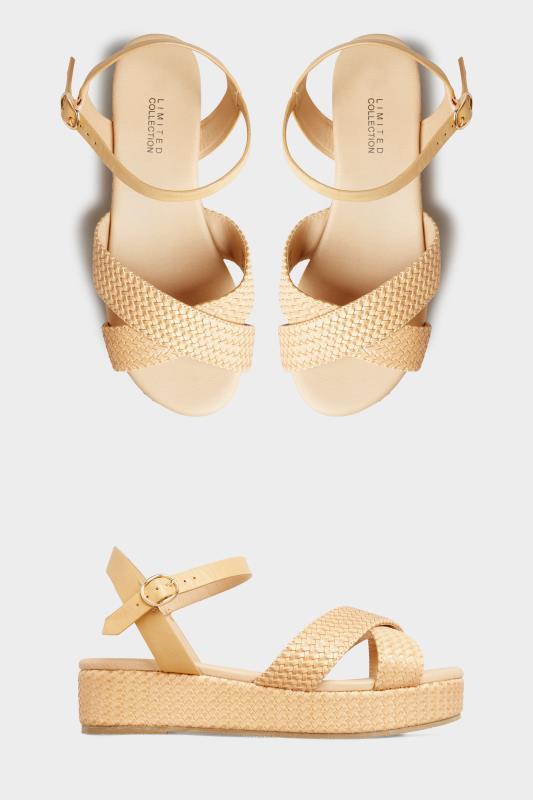 LIMITED COLLECTION Tan Weave Platform Sandal In Extra Wide Fit_split.jpg