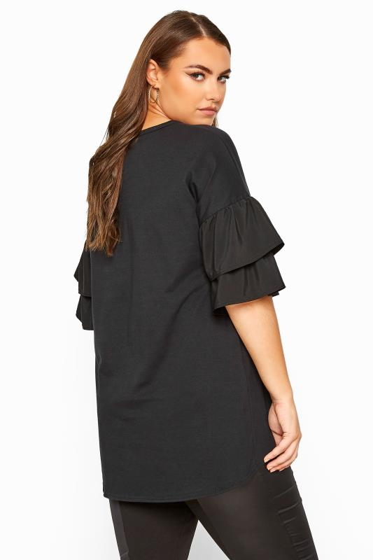 LIMITED COLLECTION Black Poplin Drop Shoulder Angel Sleeve Top