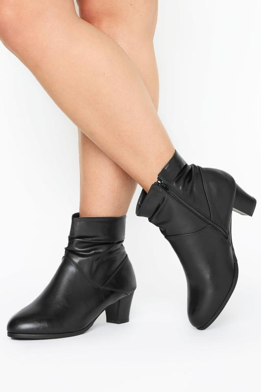 Yours Black Vegan Faux Leather Ruched Heeled Ankle Boots In Extra Wide Fit