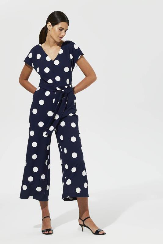 Karl Lagerfeld Paris Navy Dot Jumpsuit