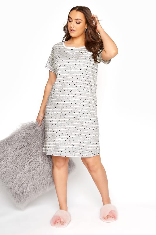 Plus Size  Grey Stripe Star Print Nightdress