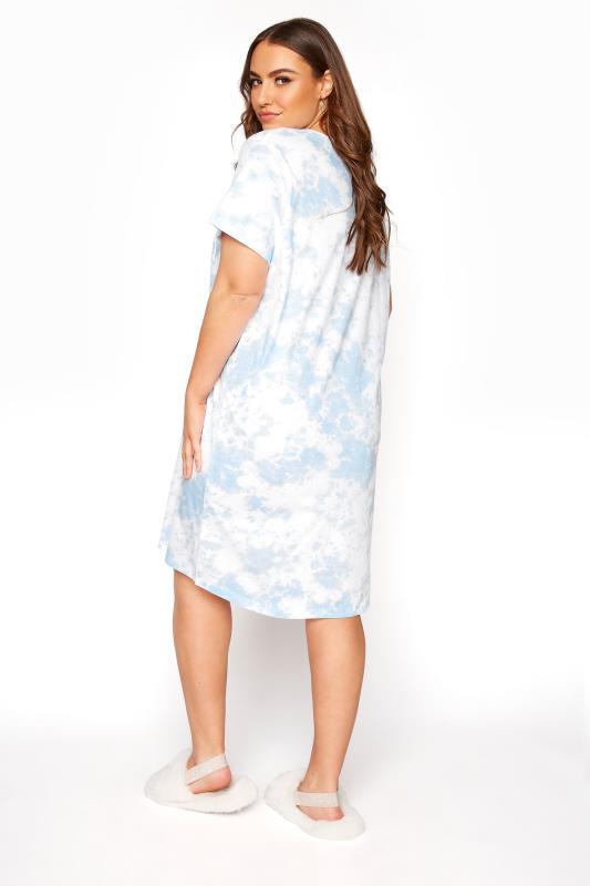 Light Blue Tie Dye Varsity 'Brunch' Dipped Hem Nightdress_C.jpg